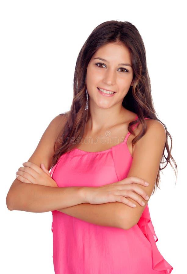 Menina bonita ocasional no rosa foto de stock royalty free