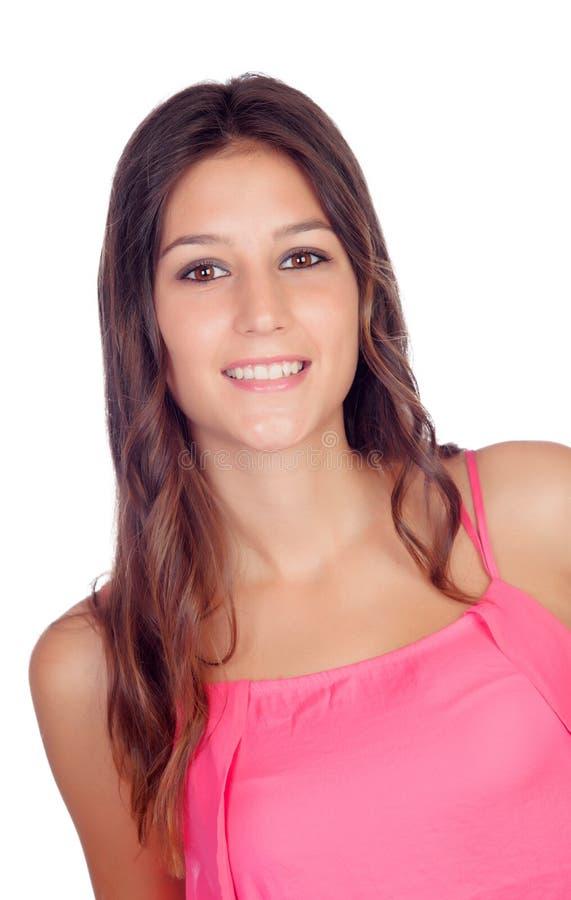 Menina bonita ocasional no rosa fotografia de stock