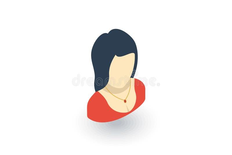 Menina bonita ou mulher bonita com ícone liso isométrico vermelho do vestido de noite vetor 3d ilustração do vetor