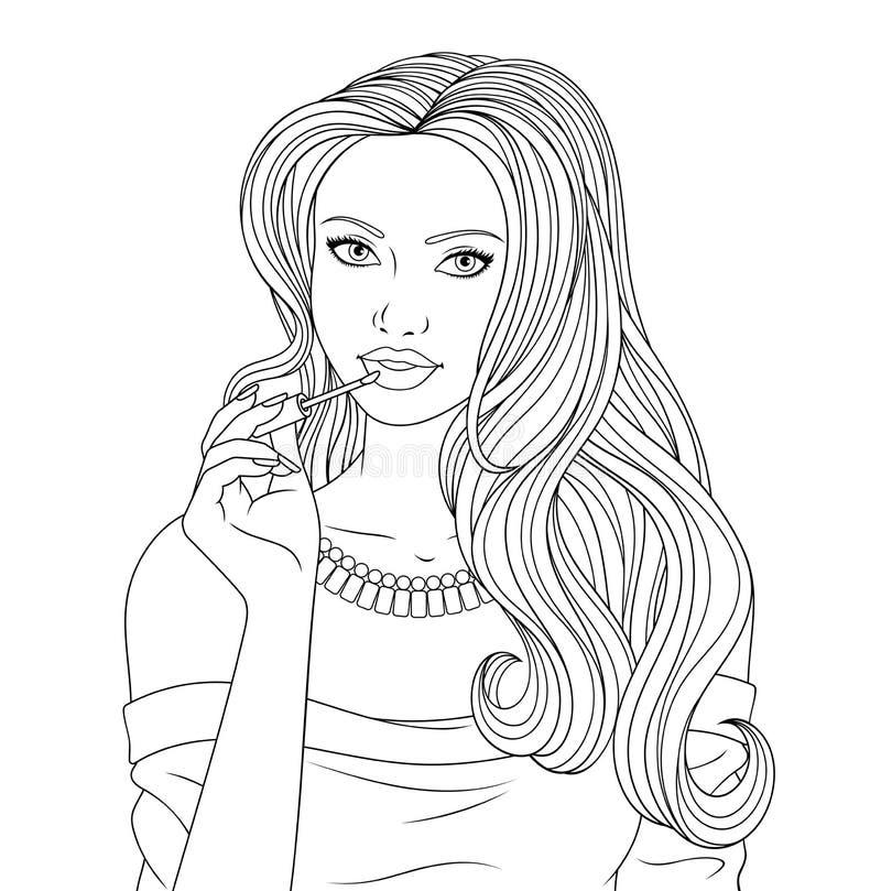 A menina bonita pinta os bordos ilustração stock