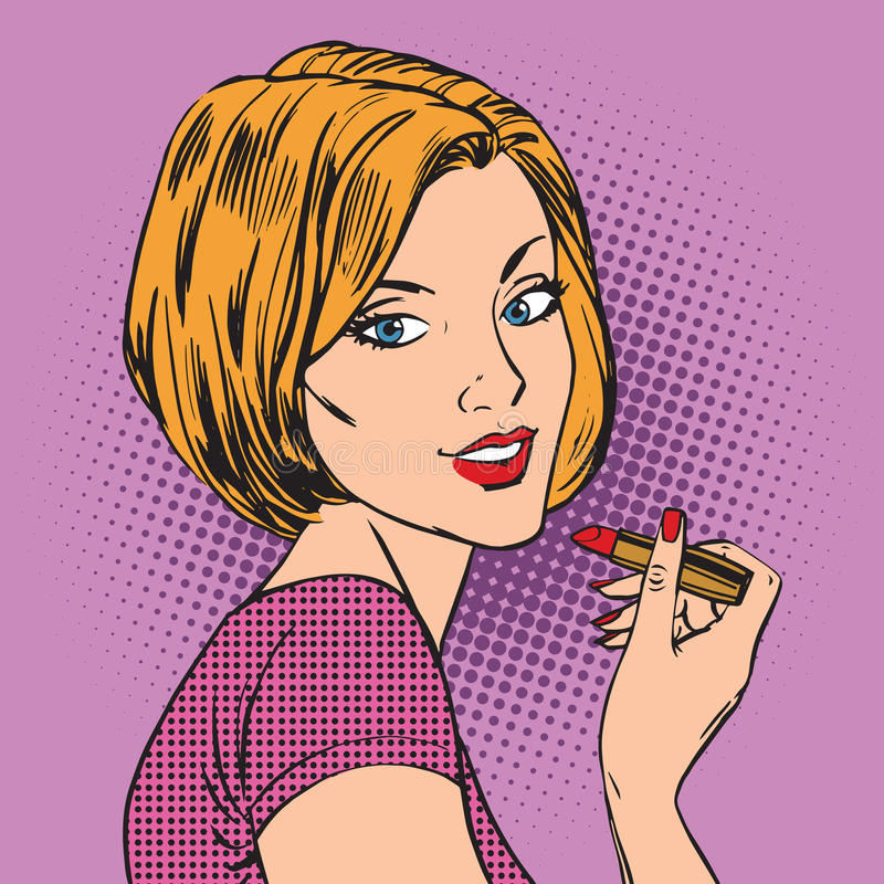 A menina bonita pinta seu PNF vermelho do batom dos bordos ilustração royalty free