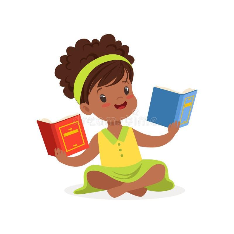 Menina bonita preta que senta-se nos livros do assoalho e de leitura, criança que aprecia a leitura, vetor colorido do caráter ilustração royalty free