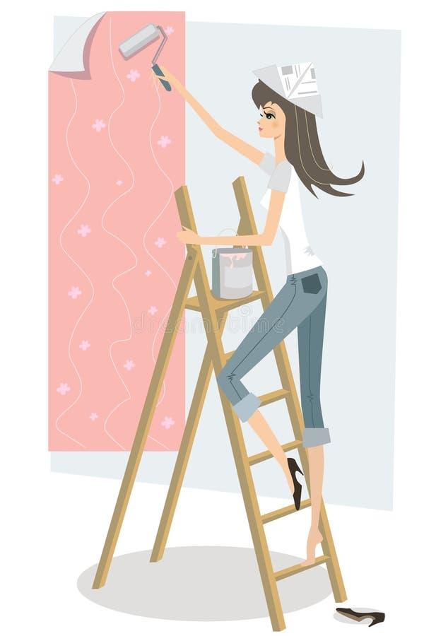 Menina bonita que decora ilustração stock