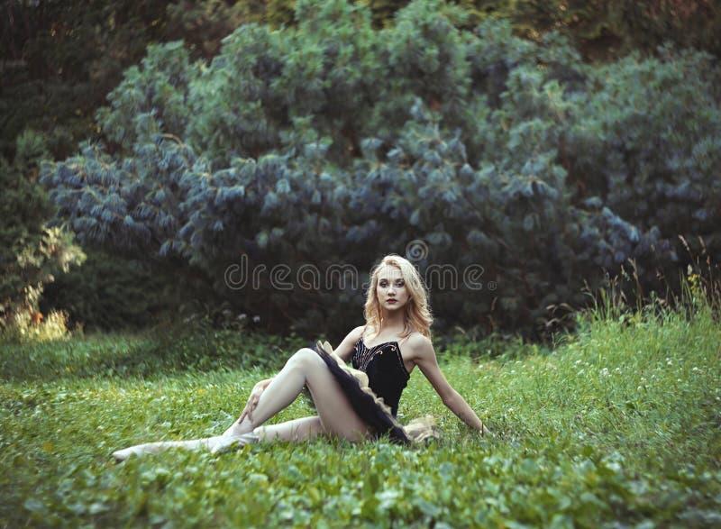Menina bonita que encontra-se e que descansa em uma grama no parque do verão imagens de stock royalty free