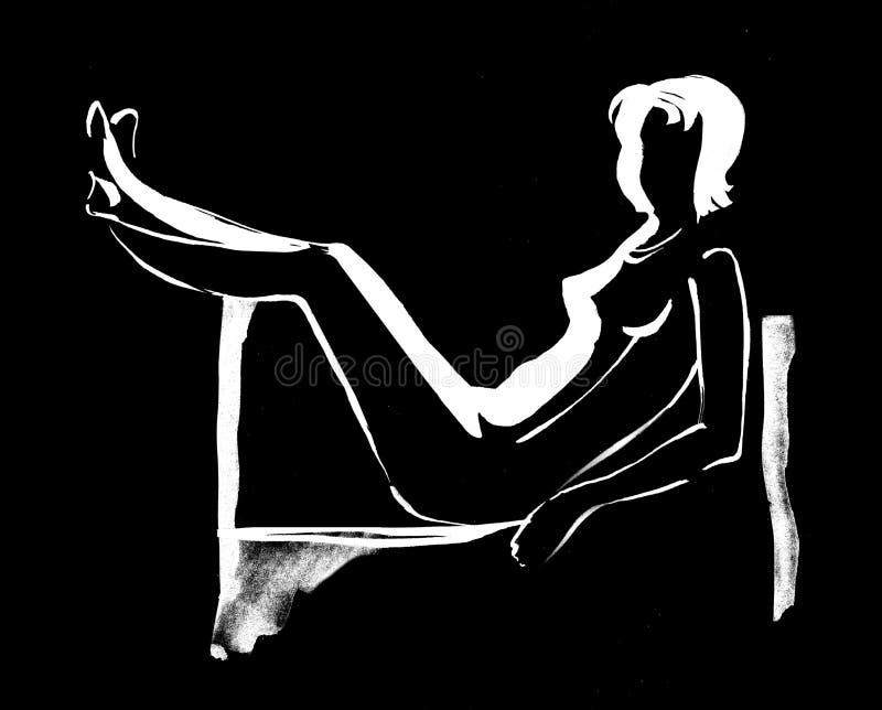 A menina bonita que encontra-se no sofá com pés aumentou 2 ilustração royalty free