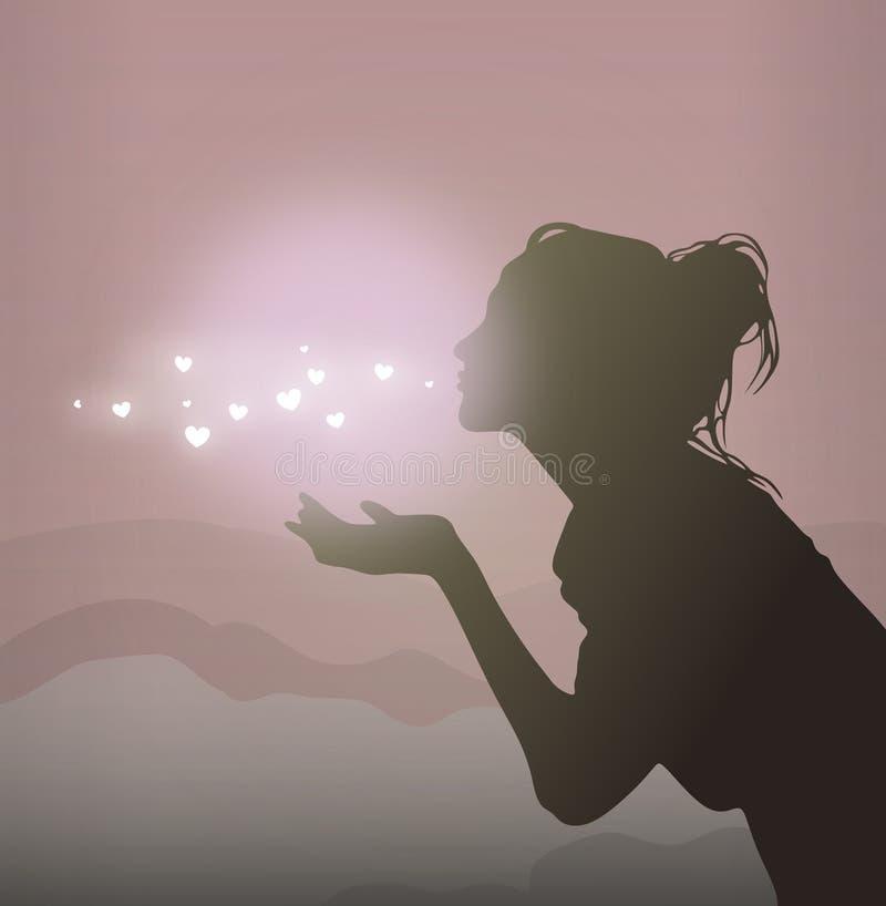 Menina bonita que envia o beijo do ar Silhueta do vetor das mulheres ilustração stock