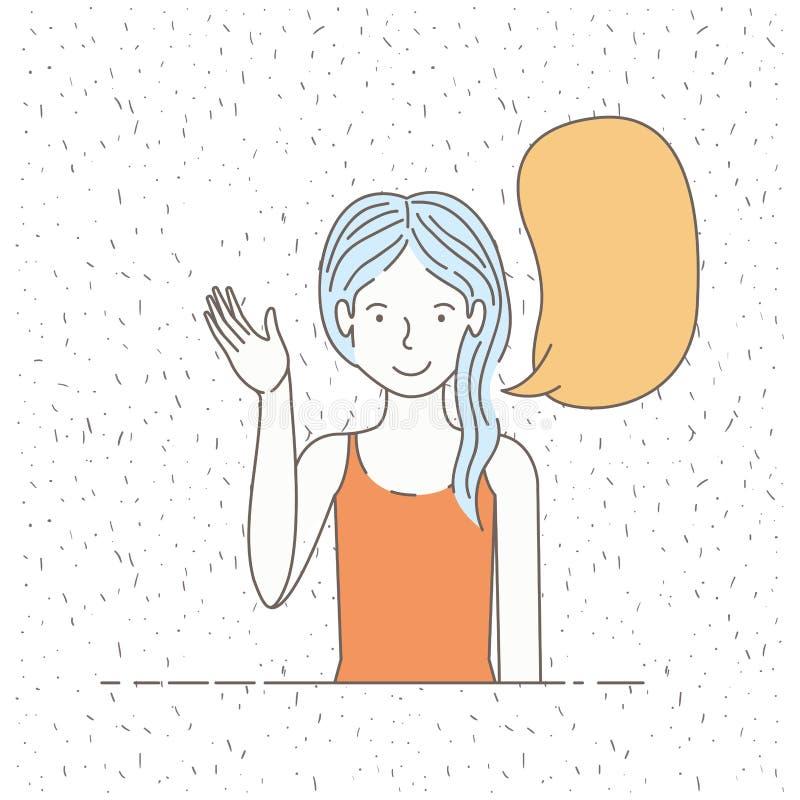 Menina bonita que fala com bolha do discurso ilustração stock