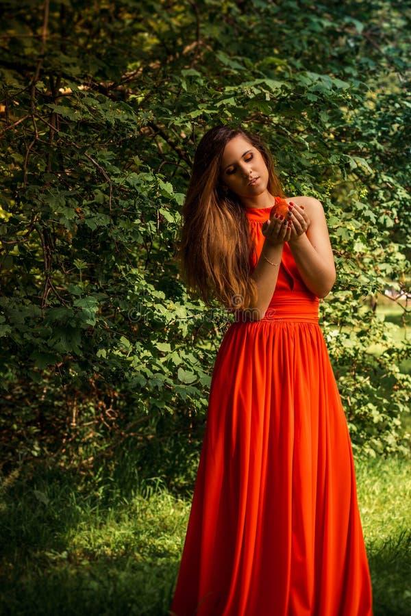 Menina bonita que guarda a maçã no parque fotografia de stock