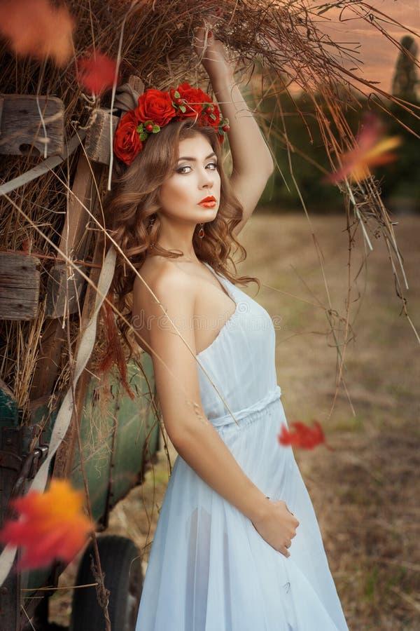 Menina bonita que inclina-se em um vagão do feno fotos de stock
