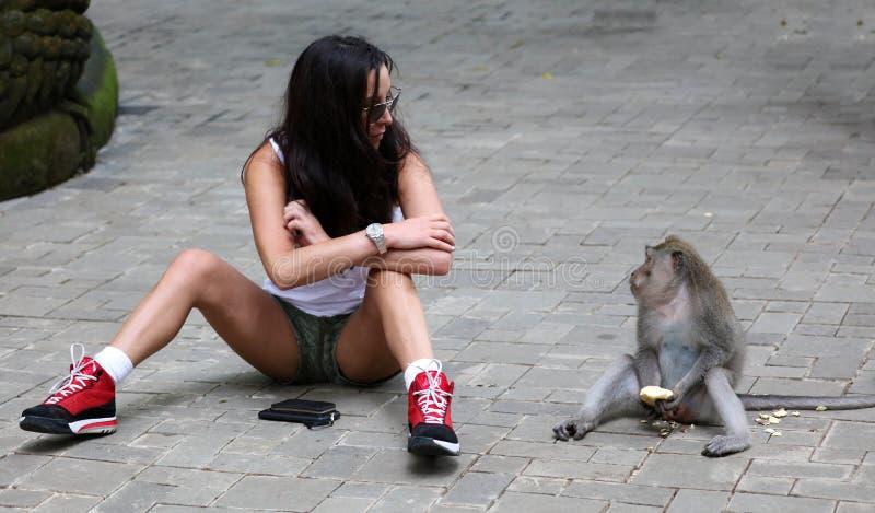 Menina bonita que joga com o macaco na floresta dos macacos em Bali Indonésia, mulher bonita com animal selvagem fotografia de stock