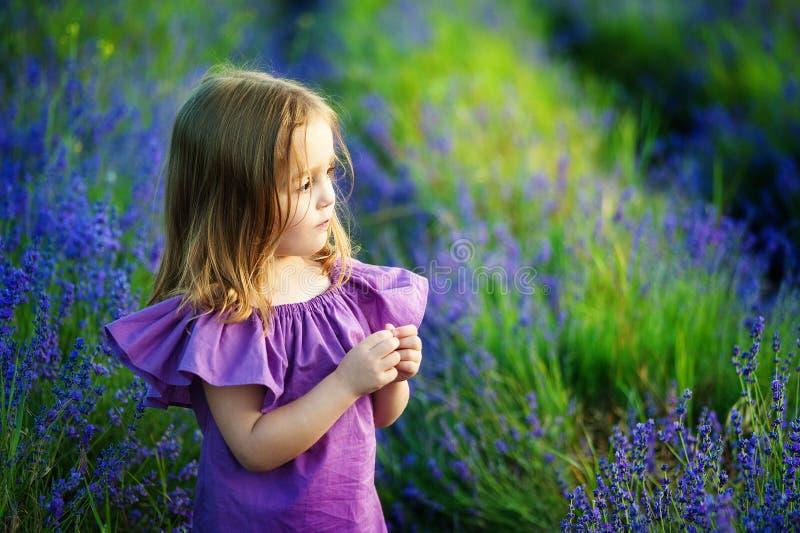 Menina bonita que joga no campo de flor de florescência da alfazema Jogo de crianças em flores da mola fotografia de stock
