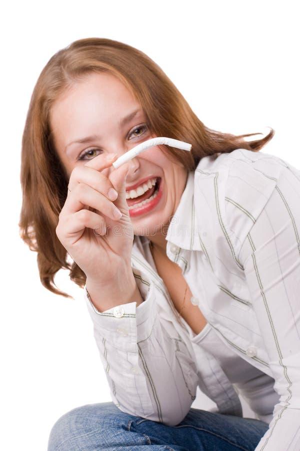 Menina bonita que levanta com cigarro. #2 imagem de stock