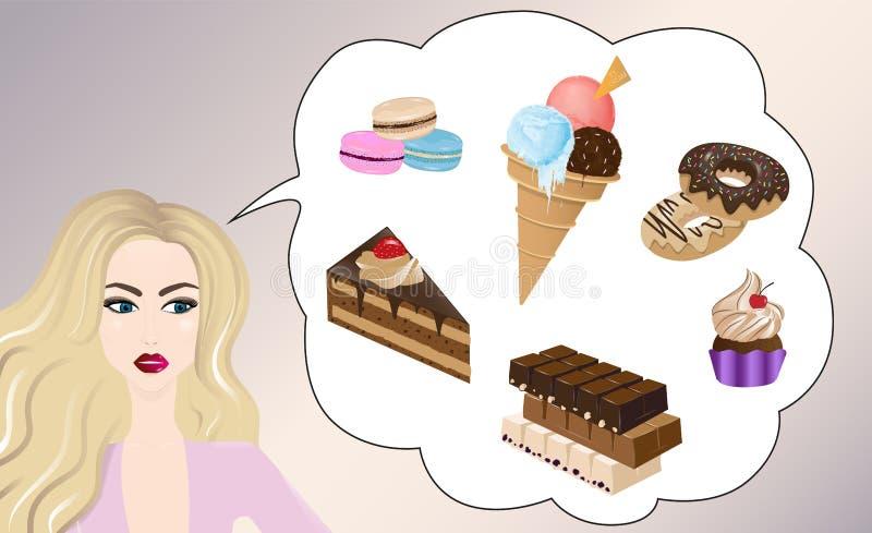 Menina bonita que pensa dos doces ilustração do vetor