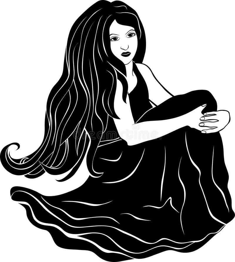 Menina bonita que senta-se com cabelo de fluxo ilustração royalty free