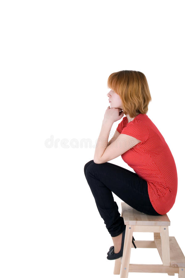 Download Menina Bonita Que Senta-se Em Uma Cadeira Foto de Stock - Imagem de fundo, sozinho: 12809142
