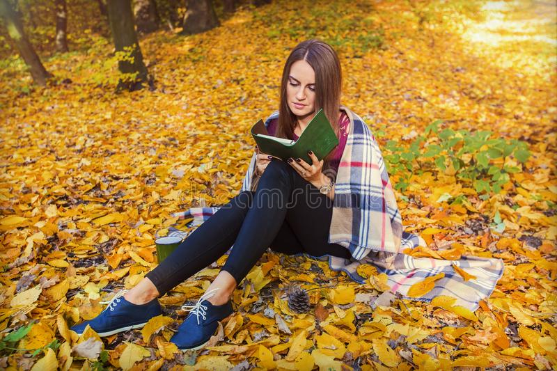 Menina bonita que senta-se na floresta do outono, na manta que lê um livro Foto acolhedor do modelo do outono nas folhas amarelas imagens de stock