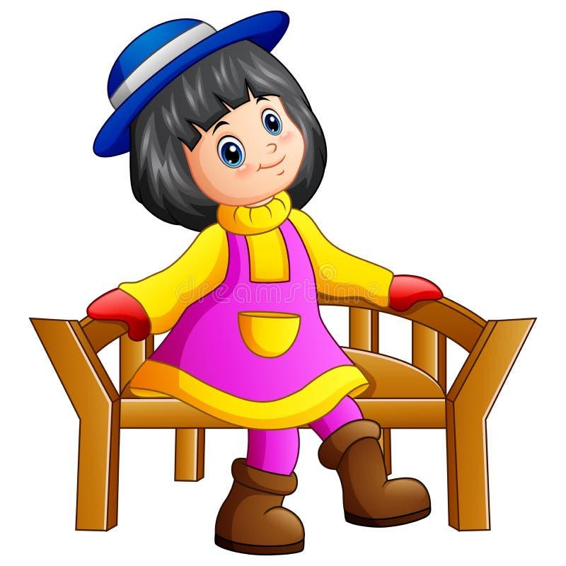 Menina bonita que senta-se no banco de madeira ilustração do vetor