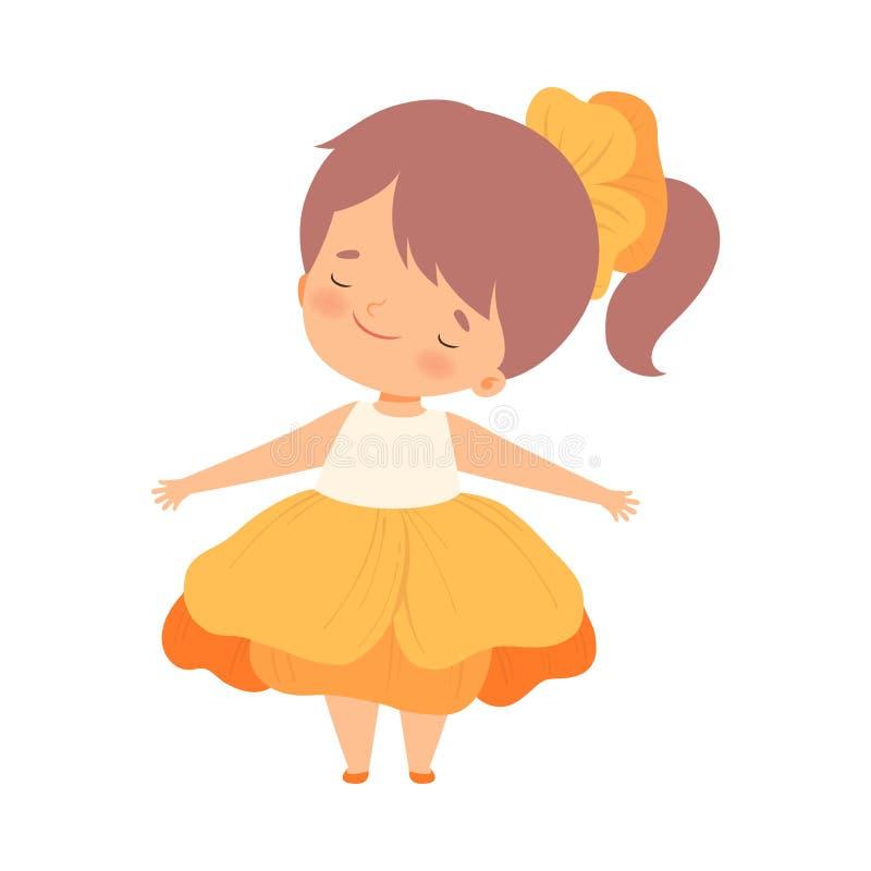 A menina bonita que veste o traje alaranjado da flor, criança adorável bonito no carnaval veste a ilustração do vetor ilustração royalty free