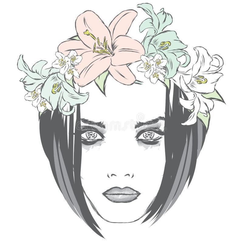 Menina bonita que veste uma grinalda das rosas Vector a ilustração para cartões, cartazes ou roupa ilustração royalty free