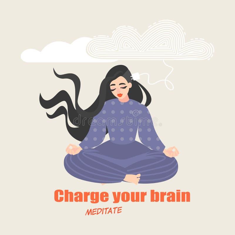 A menina bonita senta-se em uma pose da ioga e medita-se Imagem conceptual dos benefícios de praticar práticas meditativos para o ilustração stock