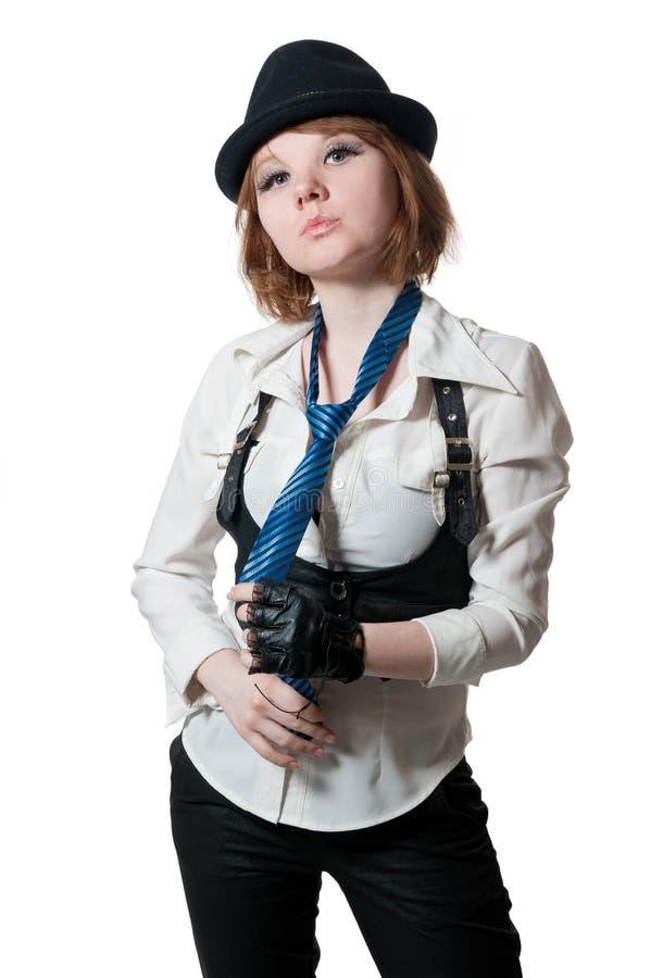 A menina bonita vestida como o gângster foto de stock