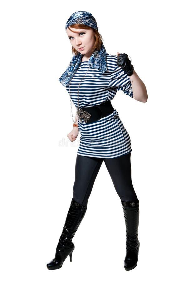 A menina bonita vestida como o pirata imagens de stock
