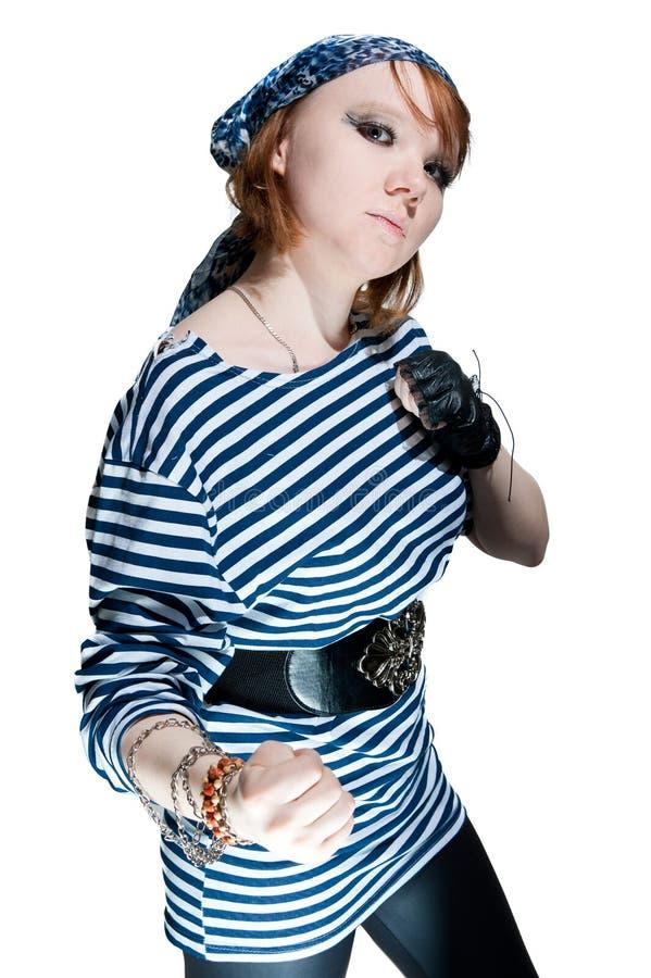 A menina bonita vestida como o pirata foto de stock
