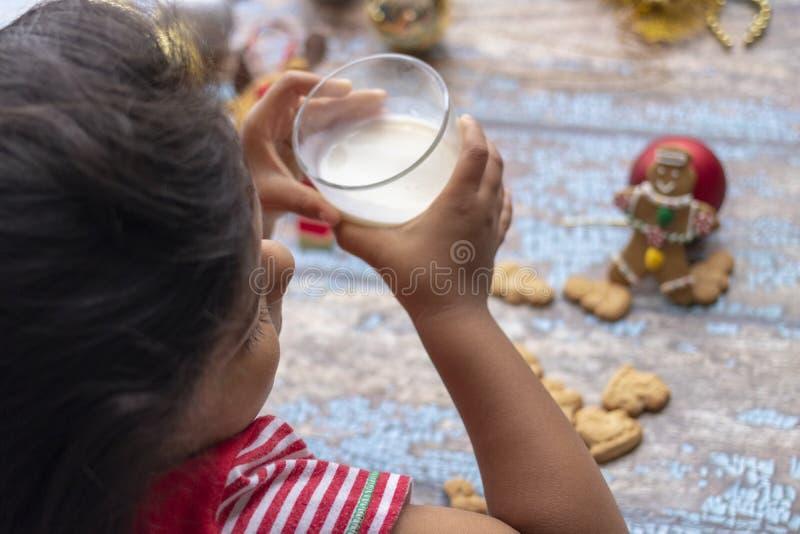 A menina bonito é leite bebendo e cookies de Santa Claus imagem de stock royalty free