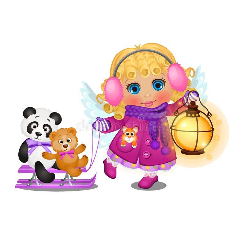 A menina bonito animado com cabelo louro encaracolado na roupa do inverno com asas do anjo monta em um trenó seus brinquedos isol ilustração do vetor