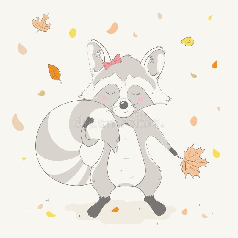 A menina bonito bonita do guaxinim mantém a folha da laranja do outono Animal dos desenhos animados do outono ilustração stock