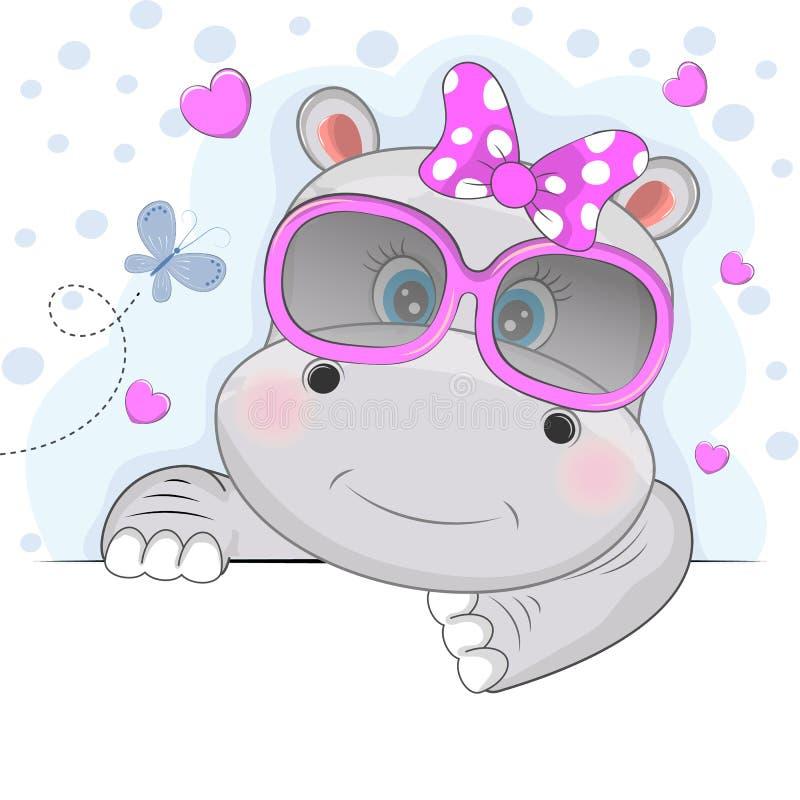 Menina bonito bonita do hipopótamo nos óculos de sol cor-de-rosa isolados em um fundo branco ilustração stock