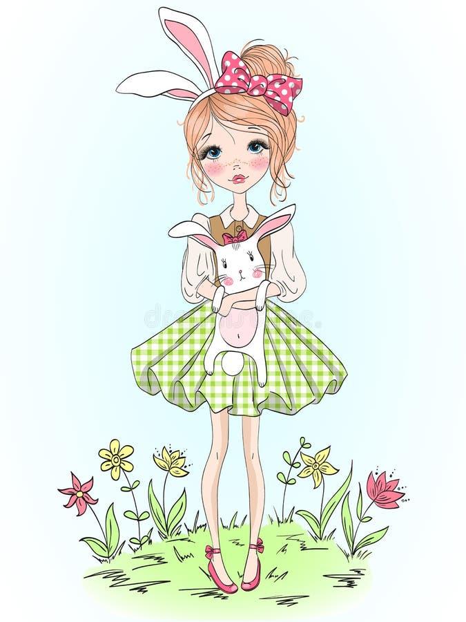 Menina bonito bonita tirada mão com coelho em suas mãos no fundo das flores com a Páscoa feliz da inscrição ilustração royalty free
