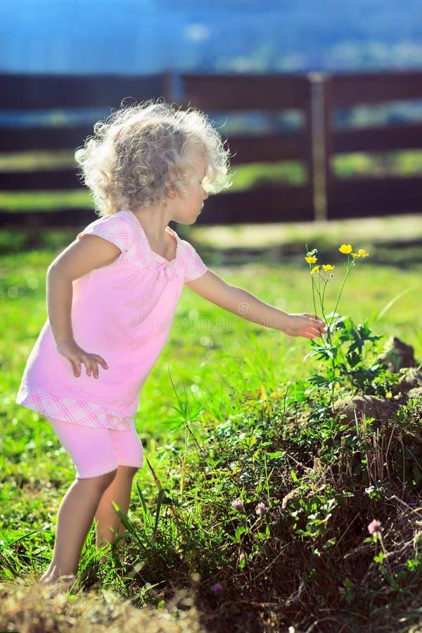 Menina bonito com as flores da colheita do cabelo curly fotos de stock royalty free