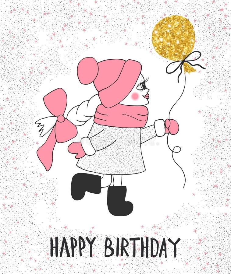 Menina bonito com balão do ouro Feliz aniversario do texto do desenho da mão ilustração royalty free
