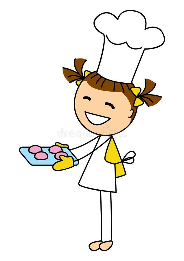 Menina bonito com cookies ilustração royalty free