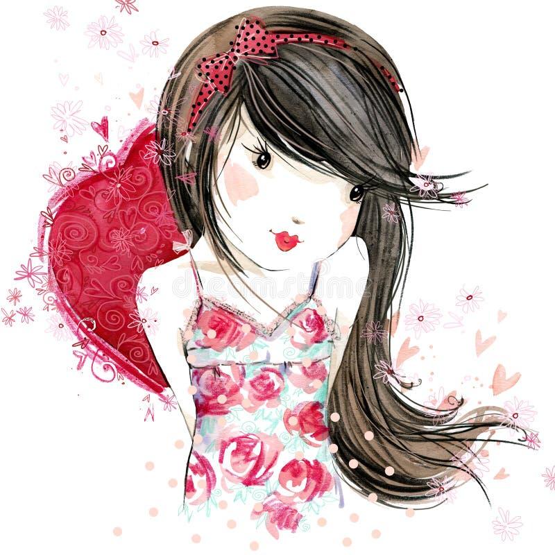 Menina bonito com coração vermelho Dia do Valentim ilustração do vetor