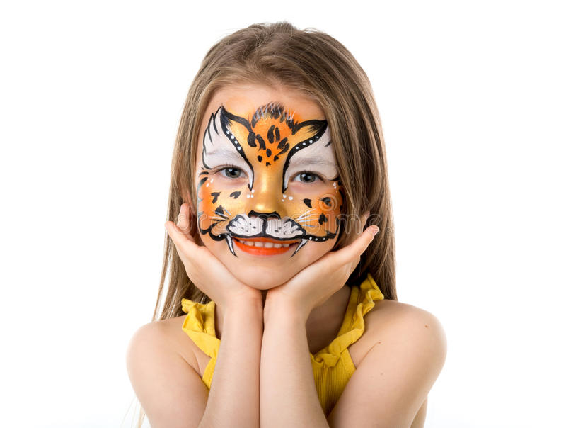 Menina bonito com face pintada imagem de stock royalty free