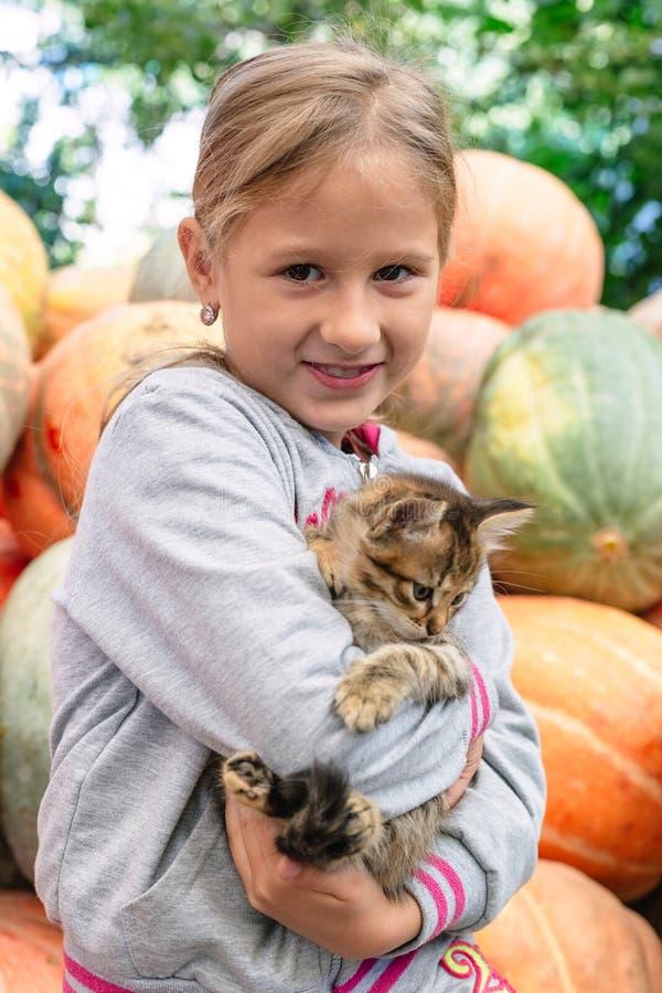 Menina bonito com gatinho fotografia de stock royalty free