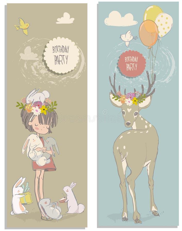 Menina bonito com lebres e cervos ilustração royalty free