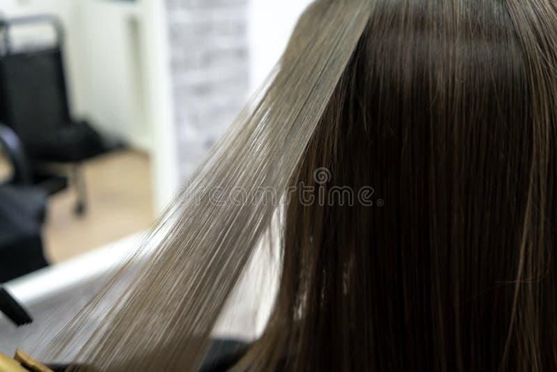 Menina bonito com o cabeleireiro moreno longo do cabelo que faz a laminação do cabelo em um salão de beleza conceito do tratament fotos de stock