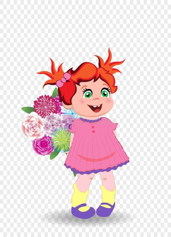 Menina bonito com o ramalhete das flores Criança feliz ilustração royalty free