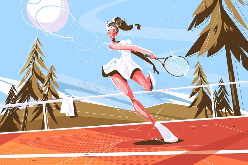 Menina bonito com raquete ilustração stock