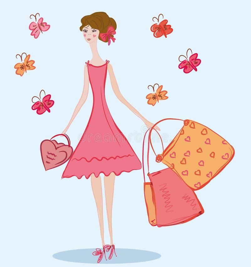 Menina bonito com sacos de compra ilustração do vetor