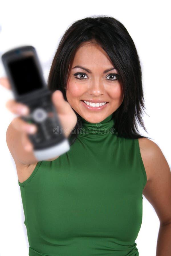Menina bonito com telefone de pilha imagens de stock