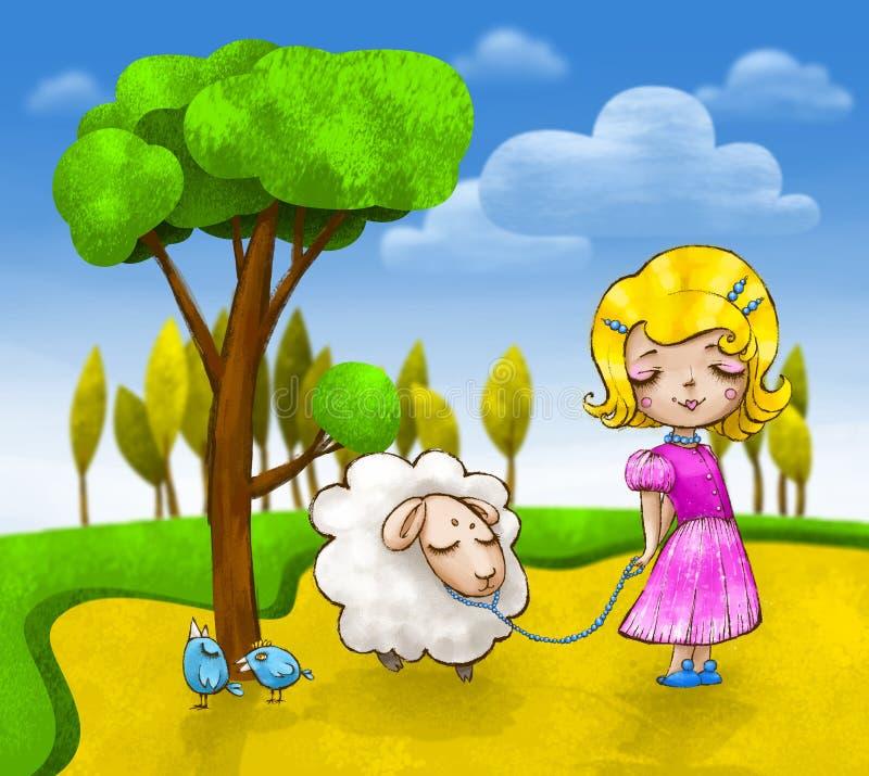 A menina bonito com um cordeiro pequeno e dois pássaros azuis estão indo para uma caminhada ilustração do vetor