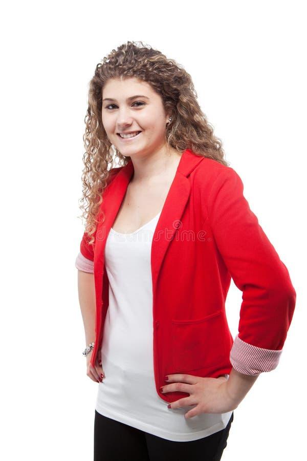 Menina bonito Curly sobre o fundo branco imagem de stock