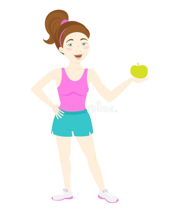Menina bonito da aptidão que guarda a maçã verde ilustração royalty free