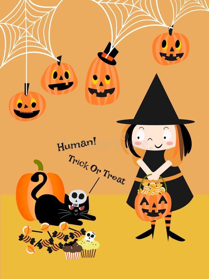 Menina bonito da bruxa e gato preto em Dia das Bruxas ilustração royalty free
