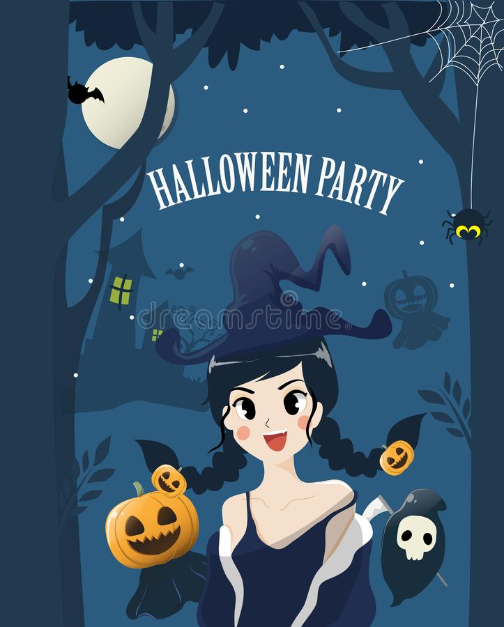 Menina bonito da bruxa na noite do Dia das Bruxas ilustração do vetor