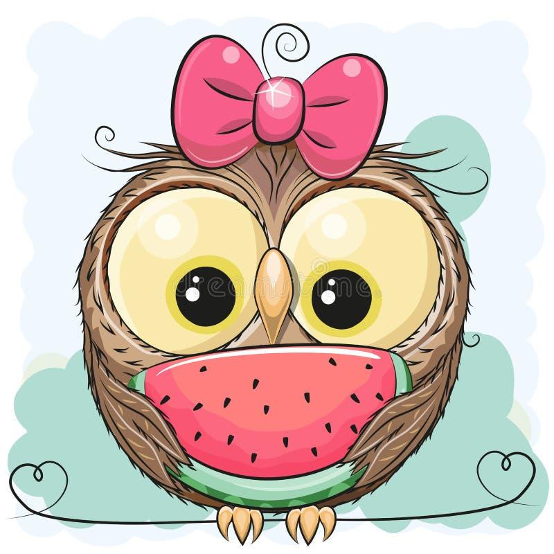 Menina bonito da coruja dos desenhos animados com melancia ilustração royalty free